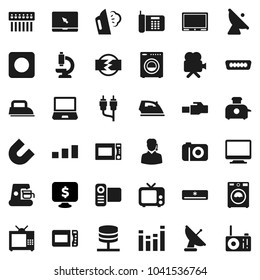 Flat vector icon set - iron vector, steaming, washer, microwave oven, magnet, monitor dollar, sorting, satellite antenna, tv, equalizer, video camera, notebook pc, rec button, rca, hdmi, microscope