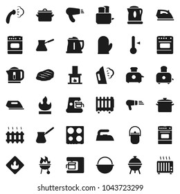 Flat vector icon set - iron vector, steaming, pan, camping cauldron, kettle, cook glove, turk coffee, toaster, oven, thermometer, bbq, steak, flammable, fireplace, heating, maker, hair dryer, heater