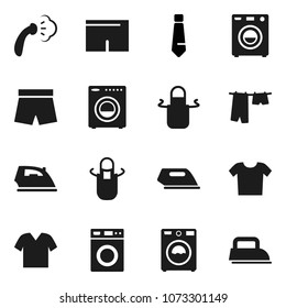 Flat vector icon set - iron vector, steaming, drying clothes, washer, apron, tie, shorts