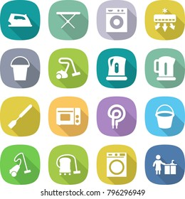 flat vector icon set - iron vector, board, washing machine, air conditioning, bucket, vacuum cleaner, kettle, spatula, grill oven, elecric, kitchen cleaning