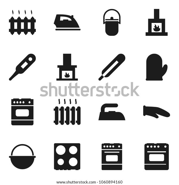Flat vector icon set - iron vector, camping cauldron, cook glove, oven, thermometer, fireplace, heating