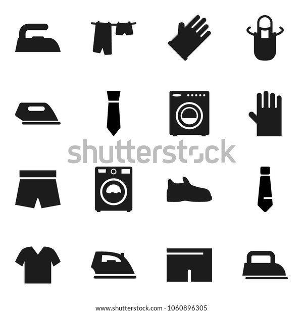 Flat vector icon set - iron vector, drying clothes, washer, rubber glove, apron, tie, shorts