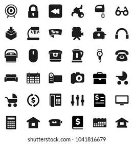 Flat vector icon set - kettle vector, scales, mixer, glasses, table lamp, calculator, exchange, case, annual report, target, calendar, satellite, package, camera, settings, video, headphones, lock