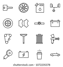 Flat vector icon set - key vector, wheel disk, canister drop, steering rack, brake, pads, cardan shaft, car battery, engine belt, valve, air filter, spray gun, angle grinding machine, hot drink