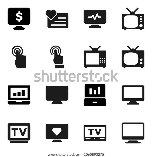 Flat vector icon set - laptop graph vector, monitor dollar, heart, tv, touchscreen, diagnostic
