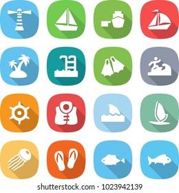 flat vector icon set - lighthouse vector, boat, port, sail, island, pool, flippers, surfer, handwheel, life vest, shark flipper, windsurfing, jellyfish, flip flops, fish