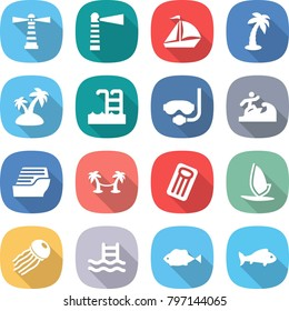 flat vector icon set - lighthouse vector, sail boat, palm, island, pool, diving mask, surfer, cruise ship, hammock, inflatable mattress, windsurfing, jellyfish, fish
