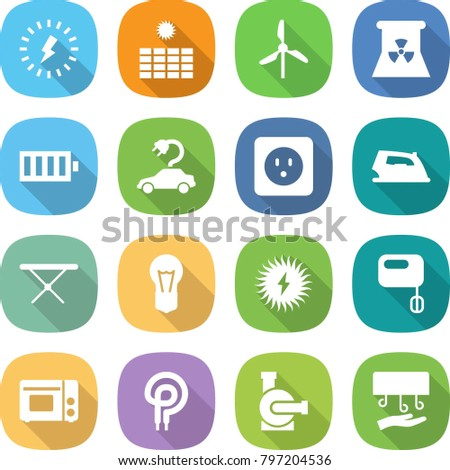 Flat Vector Icon Set Lightning Vector Stock Vector (Royalty