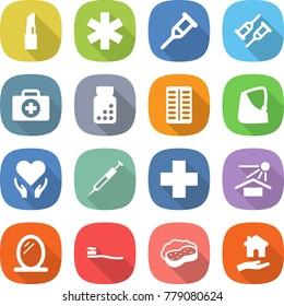 flat vector icon set - lipstick vector, ambulance star, crutch, doctor case, pills bottle, blister, broken hand, health care, syringe, cross, sun potection, mirror, tooth brush, sponge with foam