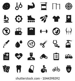 Flat vector icon set - liquid soap vector, potato, microscope, barbell, scales, clipboard, bike, horizontal bar, muscule hand, buttocks, t shirt, roller Skates, target, medal, sports nutrition