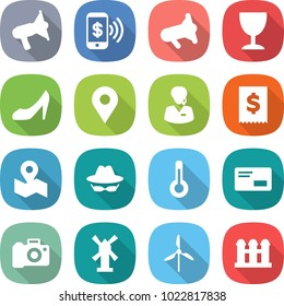 flat vector icon set - loudspeaker vector, phone pay, megafon, wineglass, shoes, geo pin, support manager, tax, map, confidential, thermometer, envelope, camera, windmill, grain elevator
