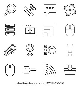 Flat vector icon set - magnifier vector, incoming call, message, palms, server, download, rss, mouse, clip, upload, network, warning, key, add to basket