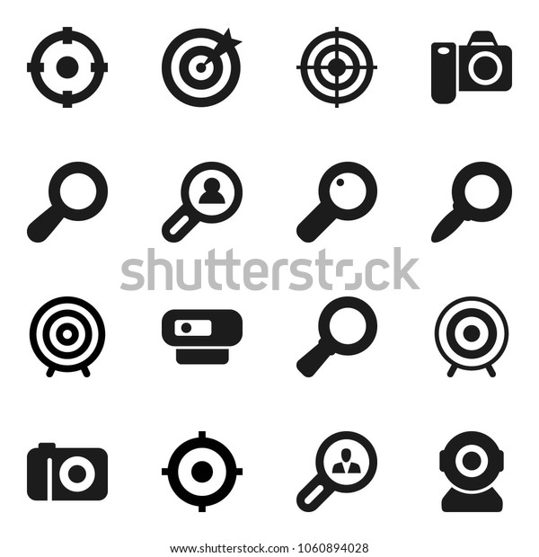Flat vector icon set - magnifier vector, target, client search, camera, web