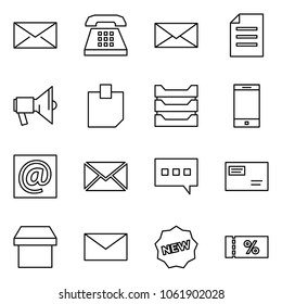 Flat vector icon set - mail vector, phone, document, loudspeaker, sticker, paper tray, mobile, e, chat, envelope, box, new, coupon