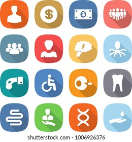 flat vector icon set - man vector, dollar, money, team, group, woman, brain, virus, hand coin, disability, artificial insemination, tooth, intestines, client, dna, and drop