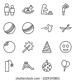Flat vector icon set - man and child vector, rocking horse, playing baby, father with son, ball, paintball, canoe, bowling, wand, party hat, fun, petard, children slide, disco, balloons