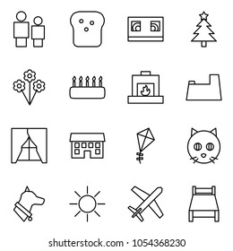 Flat vector icon set - man and child vector, bread, vhs cassette, christmas tree, flowers, cake, fireplace, potty, curtains, house, kite, cat, dog, sun, holiday, bed