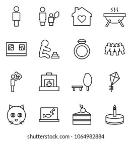 Flat vector icon set - man vector, mother and daughter, family home, bbq, vhs cassette, playing baby, diamond ring, friendship, father with son, fireplace, park, kite, cat, aquarium, cake, candle