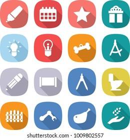 flat vector icon set - marker vector, calendar, star, gift, bulb, bone, draw compass, pencil, fence, drawing compasses, toilet, robot hand, chicken leg, harvest