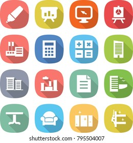 flat vector icon set - marker vector, presentation, monitor arrow, store, calculator, skyscraper, district, city, document, hotel, table, armchair, clean window, skyscrapers cleaning
