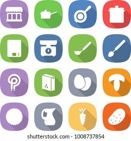 flat vector icon set - market vector, saute pan, kitchen scales, ladle, big spoon, elecric oven, cereals, eggs, mushroom, cookies, jug, carrot, potato