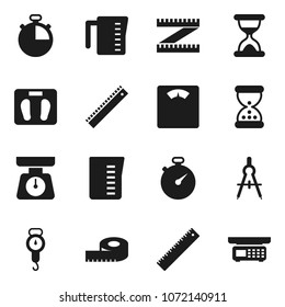 Flat vector icon set - measuring cup vector, scales, ruler, drawing compass, stopwatch, sand clock, store