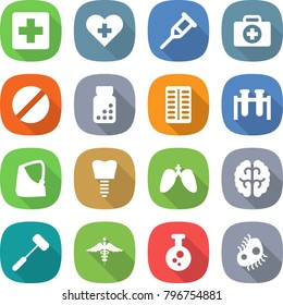 flat vector icon set - medical cross vector, heart, crutch, doctor case, pill, pills bottle, blister, test vial, broken hand, tooth implant, lungs, brain, doctors hammer, ambulance sign, chemical