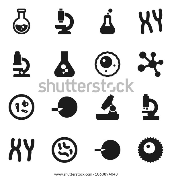 Flat vector icon set - microscope vector, flask, molecule, insemination, microbs, chromosomes, ovule