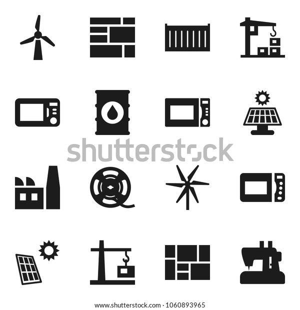 Flat vector icon set - microwave oven vector, sea container, consolidated cargo, oil barrel, film spool, solar panel, windmill, construction crane, factory, sewing machine