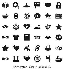 Flat vector icon set - mixer vector, copybook, atom, target, calendar, no fastfood, heart cross, oxygen, stadium, satellite, top sign, link, favorites, eye, gender, mortar, connect, message, lock