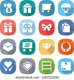 flat vector icon set - money gift vector, delivery, parachute, bow, shopping bag, box, diamond, necklace, health care, heart pendant, rack, package