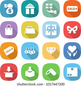 flat vector icon set - money gift vector, sale, shopping bag, bow, label, diamond, health care, package