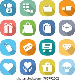 flat vector icon set - money gift vector, shopping bag, delivery, box, label, sale, diamond, heart, health care, hi quality package, parachute