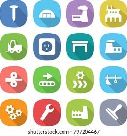 flat vector icon set - nail vector, hangare, factory, fork loader, power socket, table, metal rolling, conveyor, plow, gears, wrench, scraper