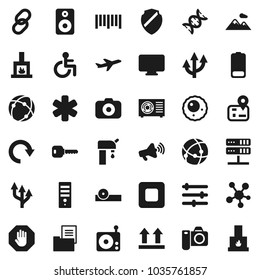 Flat vector icon set - navigator vector, plane, top sign, barcode, camera, radio, loudspeaker, social media, link, speaker, battery, stop button, ambulance star, disabled, dna, eye doctor hat, ovule