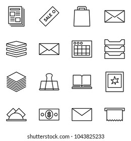 Flat vector icon set - newspaper vector, sale label, bag, mail, data, table sheet, paper tray, binder, book, photo, wipes, money, receipt