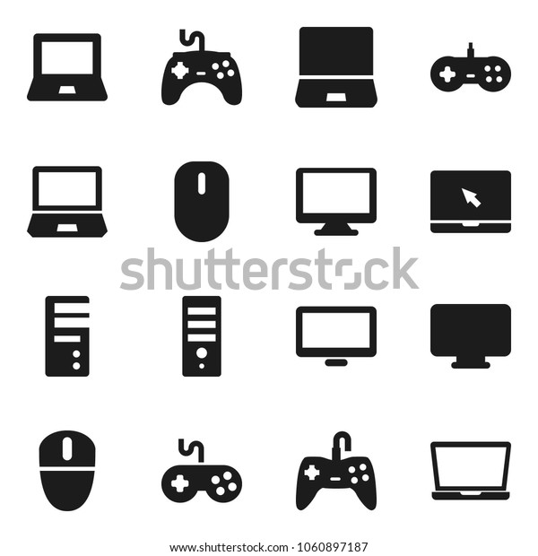Flat vector icon set - notebook pc vector, gamepad, monitor, computer, mouse