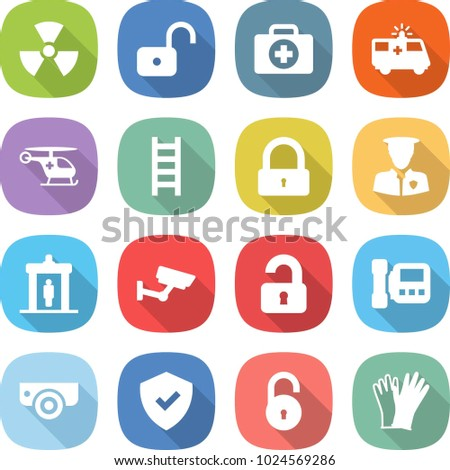 Flat Vector Icon Set Nuclear Vector Stock Vector (Royalty