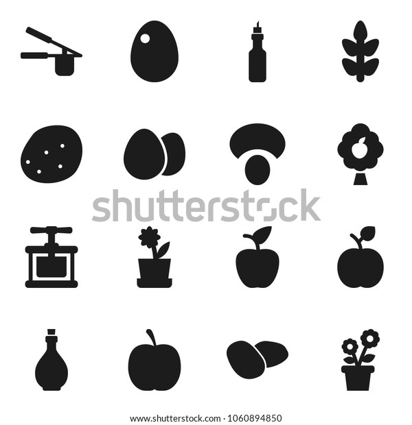 Flat vector icon set - oil vector, cook press, egg, mushroom, potato, apple fruit, diet, cereals, tree, flower in pot