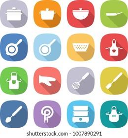 flat vector icon set - pan vector, cauldron, colander, apron, cook glove, whisk, spatula, big spoon, elecric oven, double boiler