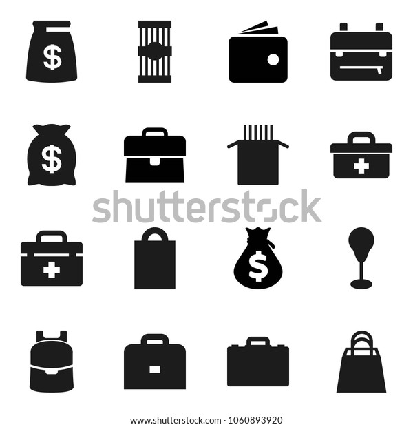 Flat vector icon set - pasta vector, case, backpack, wallet, money bag, punching, doctor, shopping
