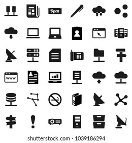 Flat vector icon set - pen vector, notebook pc, document, archive, laptop graph, binder, personal information, no smoking, signpost, attention, satellite antenna, newspaper, network, server, folder