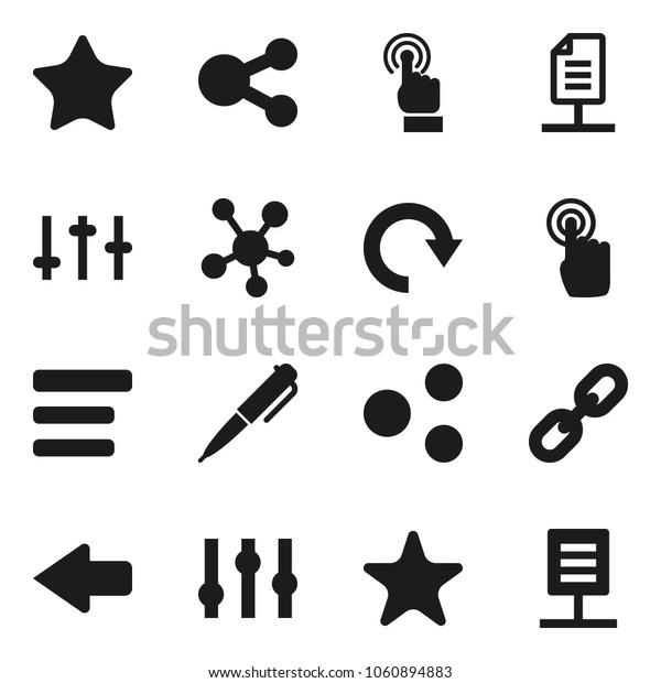 Flat vector icon set - pen vector, settings, touchscreen, social media, favorites, menu, share, arrow, redo, chain, network document