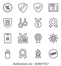 Flat vector icon set - percent vector, shield, download, html5, rings, medal, identity card, fan, hot drink, grill, new