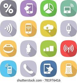 flat vector icon set - percent vector, touch, diagram, notebook wireless, phone, cloud service, smart watch, bracelet, spark plug, sorting, mobile, touchscreen, grater