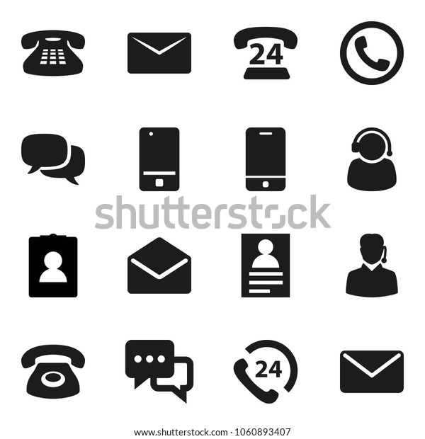Flat vector icon set - personal information vector, phone 24, mobile, dialog, classic, mail, support