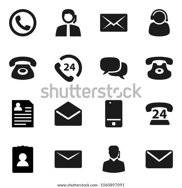 Flat vector icon set - personal information vector, phone 24, support, mobile, dialog, classic, mail