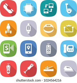 flat vector icon set - phone vector, chip, notebook connect, gyroscooter, hoverboard, smart watch, bracelet, electrostatic, mobile pay, location, remote control, intercome, blender, soil cutter