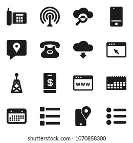 Flat vector icon set - phone vector, traking, calendar, antenna, mobile, cloud glass, browser, menu, download, tap pay