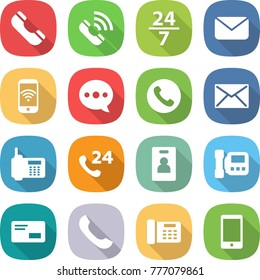 flat vector icon set - phone vector, call, 24 7, mail, wireless, balloon, identity card, intercome, envelope, office